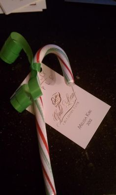 Candy Cane business card gift.  I used this today at a vendor event and included it in with each order I bagged (20 in all!)