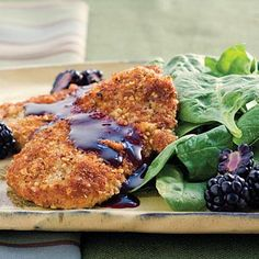 Sage-and-Pecan Pork Tenderloin Cutlets | Try this sweet and tangy blackberry reduction sauce on quick-cooking pork cutlets. | #Recipes | SouthernLiving.com