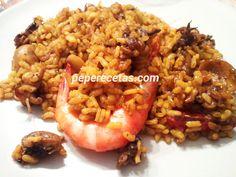 Receta de Arroz con Sepionet y gambas de inconfundible sabor y llena de matices del mediterráneo, arroz aromatizado con una buena salmorreta y su...