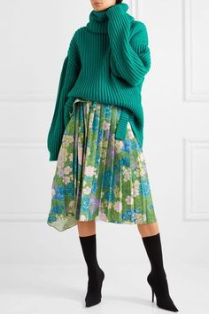 BALENCIAGA Oversized ribbed wool green turtleneck sweater