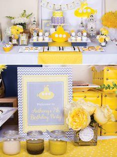 Festa Yellow Submarine: combinação magnífica de amarelo com cinza, sem falar no tema super original!
