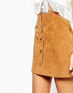Image 3 ofNew Look Suede Popper Front Skirt