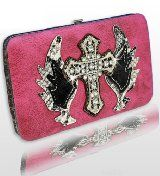 Dark Pink Rhinestone Cross & Wing Wallet