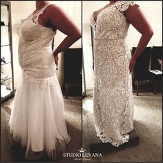 Plus size lace mermaid wedding gown with off shoulder sleeves(Adel gown on the right). The amazing job of Studio Levana corset no shaping underwear needed. Retailer Curvy Chic Bridal Ireland