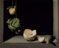 This is among the first still-lifes ever painted & is considered one of the best by many, including me. Before a mass of infinite darkness, everyday fruit is arranged in an almost perfect curve. Strong emphasis is placed on design, accentuated by the simple parapet which frames the scene. There's something austere and spiritual about this painting which remains unexplainable. All we know is that one year after painting it, Cotán renounced all of his possessions and joined a Carthusian…