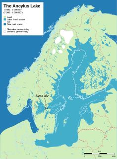 File:Baltic History The Ancylus Lake, 9 500 - 8 000 years before present 500 - 6 000 BC). Shows post-glacial rebound and shore displacement of the Baltic Sea. European History, Ancient History, Lappland, Fantasy Map, Alternate History, Old Maps, Baltic Sea, Historical Maps, Culture