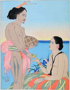 Paul Jacoulet - AMOREUX A TARANG 1935