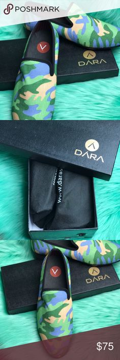DARA Camo Opera Slipper Never worn. New with tags, box and dust bags. I have 2 pairs available. Sold out everywhere online dara Shoes Loafers & Slip-Ons