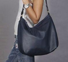 Leather boho  bag/ Blue hobo bag/ blue leather purse/ by Laroll, €140.00