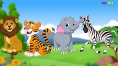 Learn Animal Names Tiger Lion Zebra Elephant Animals For Kids Animals For Kids, Tigger, Pikachu, Disney Characters, Fictional Characters, Lion, Elephant, Names, Learning