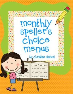 Monthly Spellers Choice Menu- a great way to switch up the spelling homework (words their way!) with fun new ideas each month- AND ITS FREE! Teaching Language Arts, Classroom Language, Classroom Fun, Teaching Writing, Classroom Activities, Teaching Resources, Teaching Ideas, Spelling Activities, Writing Activities