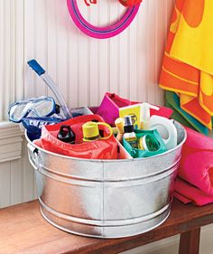 Use foam core to divvy up a washtub to organize sunscreen, goggles, bug spray, and whatever else you're already tripping over this summer.