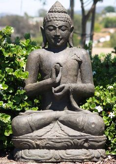 View the SOLD Stone Dharmachakra Buddha Statue 34
