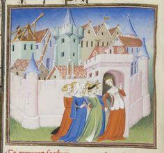 """Women entering the city. From Christine's """"City"""", Paris, Bibliothèque nationale de France, Département des manuscrits, MS Français 1178, f. 136."""