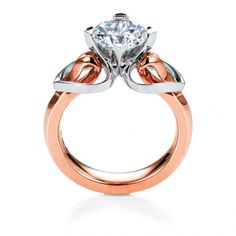 """""""Eriskay"""" diamond ring in pink gold with heart-shaped platinum shoulders by MaeVona"""