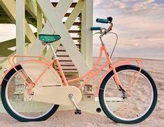 I want a beach bike so bad! and i wanna live by the beach! Coastal Cottage, Coastal Style, Coastal Living, Coastal Decor, Beach Bike, Beach Buggy, Beach Trip, Pink Bike, Bucket Lists