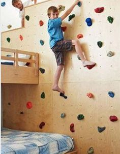 What a great idea! A climbing wall in a kids' playroom. Cool Kids Bedrooms, Teen Girl Bedrooms, Awesome Bedrooms, Cool Rooms, Kids Rooms, Room Kids, Bedroom Boys, Child Room, White Bedrooms
