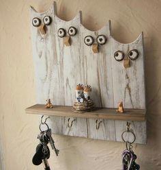 Wood pallets 664984701215013110 - Owl Keys Hook – Diy Fall Decor – Source by liapicturefeast Rope Crafts, Driftwood Crafts, Wooden Crafts, Diy Crafts, Diy Décor, Easy Diy, Reclaimed Wood Wall Art, Wood Art, Wood Wood