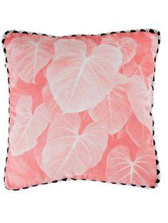 Holly's House Dusky pink jungle leaf cushion