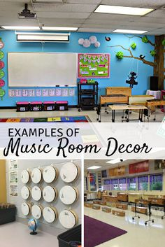 10 great examples of music classroom decor: Includes ideas for organization, instrument storage, and more! 10 great examples of music classroom decor: Includes ideas for organization, instrument storage, and more! Classroom Ceiling Decorations, Classroom Decor Themes, Classroom Organization, Music Room Organization, Classroom Ideas, Classroom Inspiration, Room Decorations, Preschool Music, Teaching Music