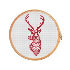 Christmas deer nordic pattern - cross stitch pattern - traditional pattern ornament merry christmas decoration xmas reindeer Scandinavian