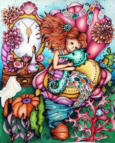 Just finished this from Check out to see how it was made… Mermaid Coloring Pages, Coloring Book Art, Colouring Pages, Adult Coloring, Markova, Disney Day, Colouring Techniques, Make Color, Mermaid Art