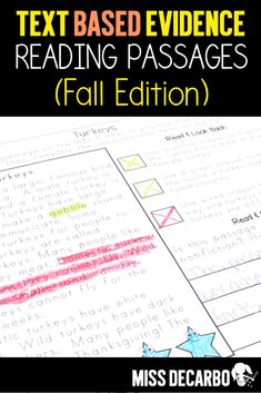 Text-Based Evidence Reading Passages for Fall: This resource provides interactive and hands-on fluency, comprehension, and written response practice for your students. Great for whole group setting, small group setting, RTI, intervention classrooms, or as center work or independent work within the classroom. #readingpassages #fallreading #literacy #fluency #comprehension Reading Intervention, Reading Passages, Reading Comprehension, Teaching Writing, Teaching Strategies, Teaching Ideas, Reading Lesson Plans, Reading Lessons, Text Based Evidence