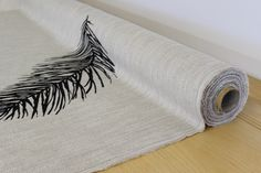 Glitter Feather Linen Panel (Priced by the Panel)