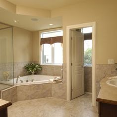 Bathroom Corner Jacuzzi Design, Pictures, Remodel, Decor and Ideas
