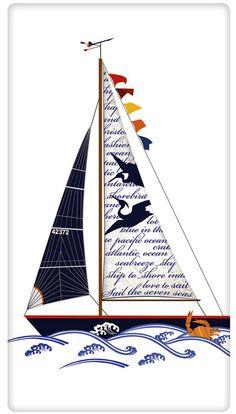 Colorful Sail Boat 100% Cotton Flour Sack Dish Towel Tea Towel