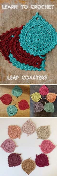 Crochet Leaf Coaster. Oohhh! What a great way to add an Autumnal feel to our home decor! Lovely!