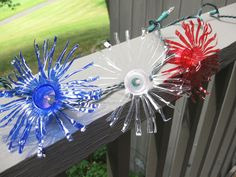 Recycle water bottles and turn them into firework twinkle lights! Water Bottle Crafts, Plastic Bottle Crafts, Recycle Plastic Bottles, Water Bottles, Recycled Bottles, Patriotic Crafts, July Crafts, Holiday Crafts, Americana Crafts