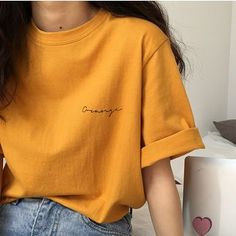 Korean Fashion Trends you can Steal – Designer Fashion Tips Orange T Shirts, Yellow T Shirt, Aesthetic T Shirts, Aesthetic Clothes, Outfits Con Camisa, Mode Kpop, Casual Outfits, Cute Outfits, Summer Outfits