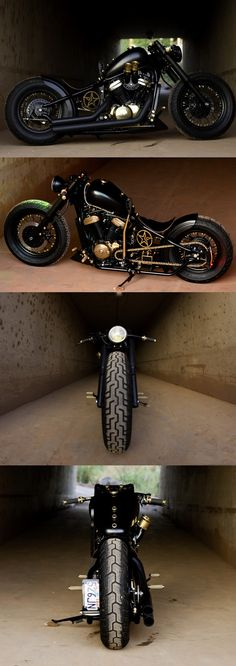 Honda VT600 black & brass hardtail custom