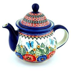 Polmedia Polish Pottery 57 oz Stoneware Tea or Coffee Pot H8912B Hand Painted from Zaklady Ceramiczne in Boleslawiec Poland Shape S423AGU943 Pattern P4351A149ART Unikat <3 Find similar products by clicking the VISIT button
