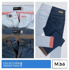 ¡Infaltables en tu closet! Jeans slim fit celeste y azul con contraste interno OMPJ0021. #Mbolifestyle #jean #slimfit