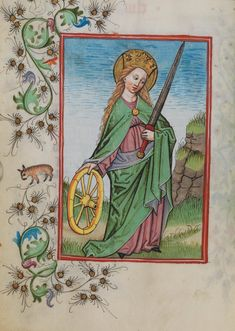 St. Catherine of Alexandria, in the Waldburg-Gebetbuch, 1486