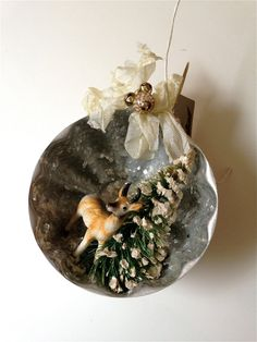 Diorama ornament, Vintage inspired Christmas winter diorama ornament with deer and bottle brush tree
