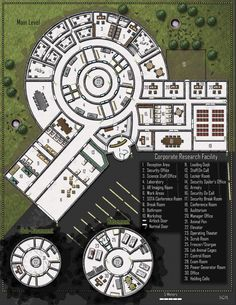 Corporate Research Facility; shadowrun, floorplan