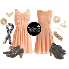 """""""Peach Bridesmaid Dresses"""" by modcloth on Polyvore"""