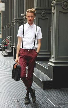 For those tall skinny boys, embrace it with skinny trousers and elongating suspenders.