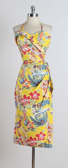 Vintage 1950s Frank Mcintosh Print Hawaiian Dress