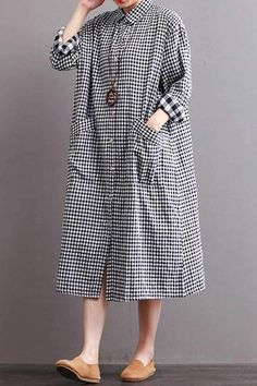 Fabric LooseSeason Autumn WinterType DressPattern Type PlainSleeve Length Long SleeveColor Black White PlaidStyle CasualMaterial LinenNeckline One ShoulderSilhouette DressMeasurement Length 109 cm Shoulder Width 51 cm Bust 122 cm Sleeve Length 52 cm Cu Long Shirt Dress, Blouse Dress, Linen Dresses, Casual Dresses, Dress Shirts For Women, Clothes For Women, Hijab Fashion, Fashion Dresses, Women's Fashion
