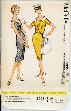 1950s Dress Pattern McCalls 5005 Misses Sleeveless Sheath Dress and Jacket Bust 32 Womens Vintage Sewing Pattern UNCUT. $24.00, via Etsy.