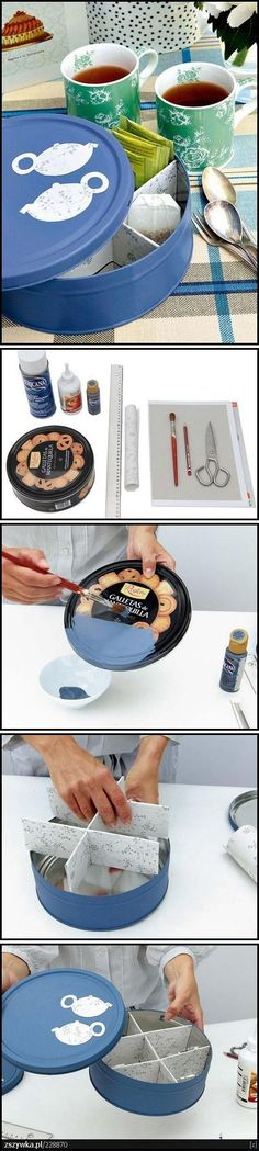 Cookie tin remade for tea kit.