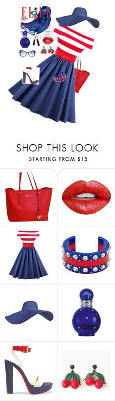 """Happy Fourth !"" by kindlefraud ❤ liked on Polyvore featuring Michael Kors, Nevermind, Gucci, Britney Spears, Christian Louboutin and Italia Independent"