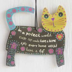 """Cat Air Freshener - You will totally adore this set of three lemon-scented car air fresheners with """"in a perfect world every cat would have a home and every home would have cat."""" Purr-fect for any kitty lovers in your life. Shop our entire collection of car air fresheners at Natural Life today!"""