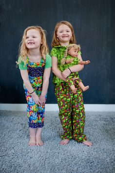 French Bull's Kids Jungle Collection for Windham Fabrics. So many cute prints, sew many possibilities - like these adorable outfits!