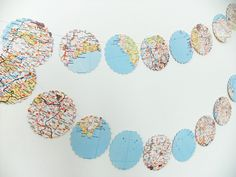 This map bunting has been upcycled from a vintage Bartholomew's Road Atlas. This lovely garland shows England and Wales. This listing is for ONE garland of bunting with 22 scalloped circle flags, each 9 cm in diameter. Simple Wall Art, Easy Wall, Recycled Wedding, Origami, Ways To Recycle, Repurpose, Travel Fund, Old Magazines, Summer Feeling