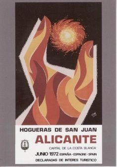 Cartel de Hogueras del año 1972 Alicante.